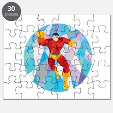 Superhero Running Punching Low Polygon Puzzle