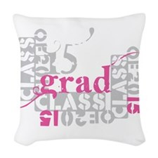 pink grad 2015 Woven Throw Pillow