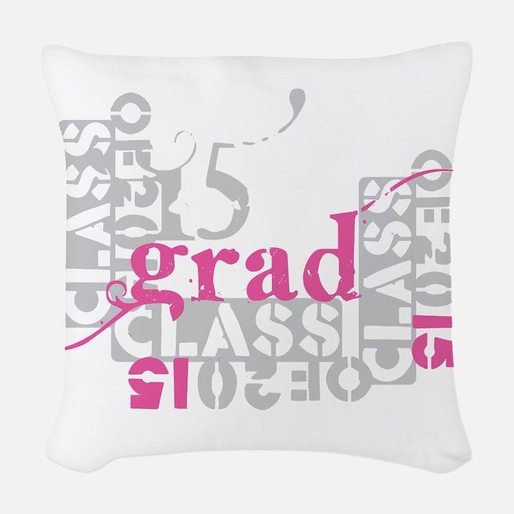 pink grad 2015 Woven Throw Pillow