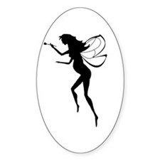 Pregnant Fairy Silhouette Oval Decal