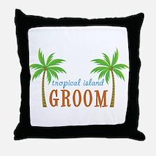 Groom Tropical Wedding Throw Pillow