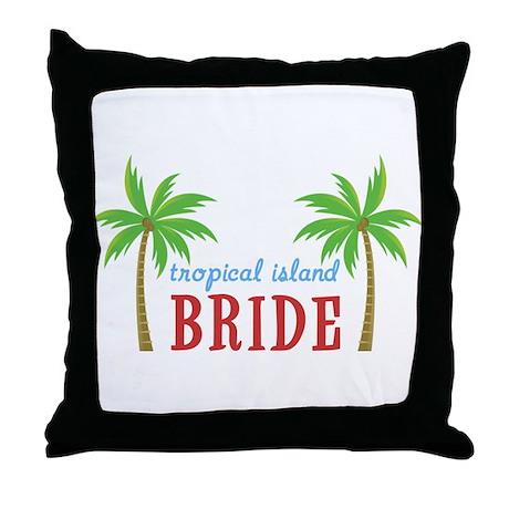 Bride Tropical Island Throw Pillow