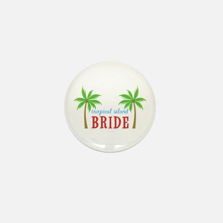 Bride Tropical Island Mini Button