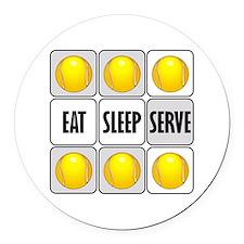 Eat Sleep Serve Tennis Round Car Magnet