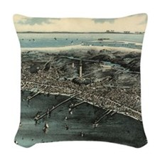 Vintage Pictorial Map of Provi Woven Throw Pillow