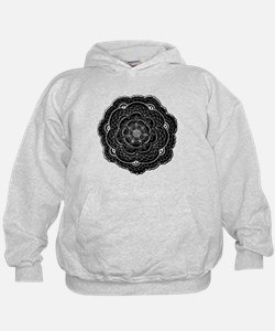Black and White Rose Flower Doily Hoodie