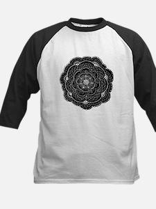 Black and White Rose Flower Doily Baseball Jersey