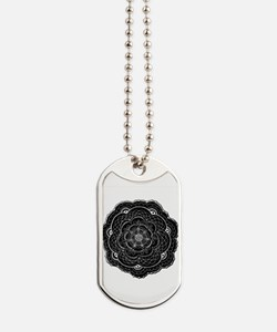 Black and White Rose Flower Doily Dog Tags