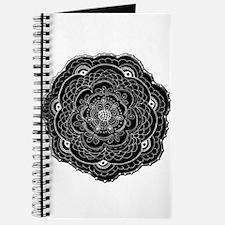 Black and White Rose Flower Doily Journal