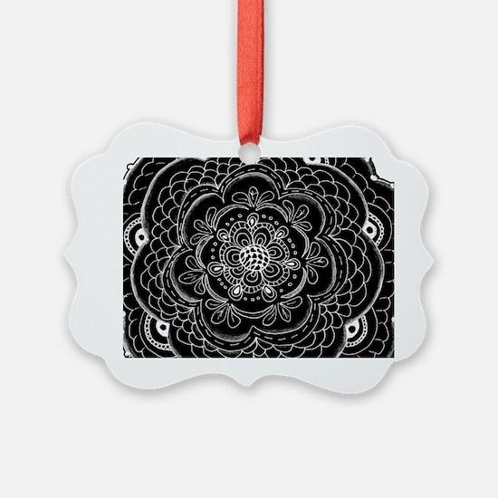Black and White Rose Flower Doily Ornament