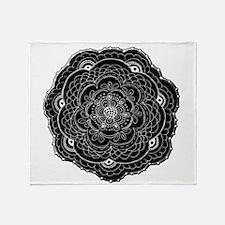 Black and White Rose Flower Doily Throw Blanket