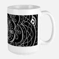 Black and White Rose Flower Doily Mugs