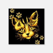 Cute Cat Portrait with Paws Prints Sticker