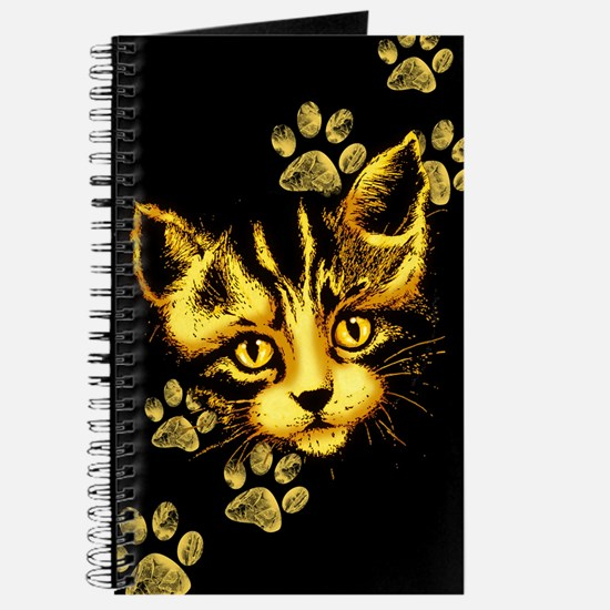 Cute Cat Portrait with Paws Prints Journal