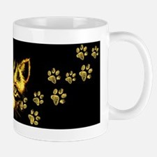 Cute Cat Portrait with Paws Prints Mugs
