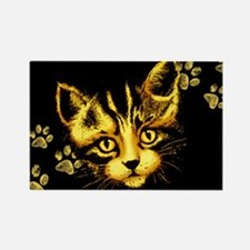 Cute Cat Portrait with Paws Prints Magnets