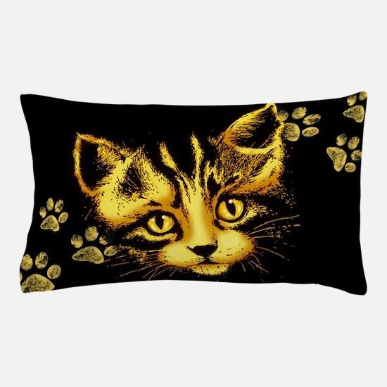 Cute Cat Portrait with Paws Prints Pillow Case