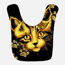 Cute Cat Portrait with Paws Prints Bib
