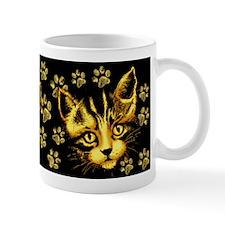 Cute Cat Portrait with Paws Prints Mugs