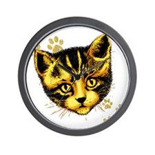 Cute Cat Portrait with Paws Prints Wall Clock