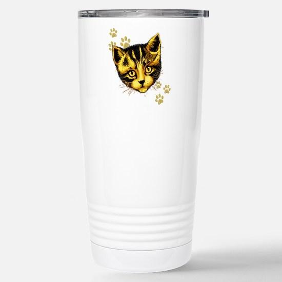 Cute Cat Portrait with Paws Prints Travel Mug
