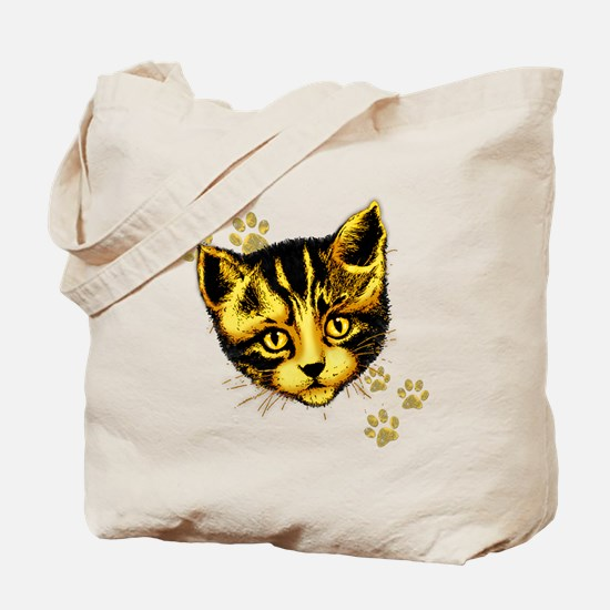 Cute Cat Portrait with Paws Prints Tote Bag
