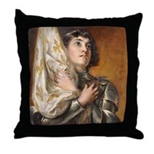 Portrait of Saint Joan of Arc Throw Pillow