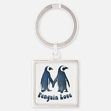 Penguin Love Square Keychain