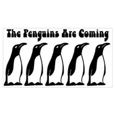 The Penguins Are Coming Canvas Art