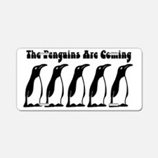 The Penguins Are Coming Aluminum License Plate