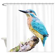 Watercolor Print Kingfisher Bird Shower Curtain
