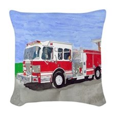 Fire Truck Woven Throw Pillow
