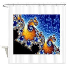 Mandelbrot Blue Double Spiral Shower Curtain