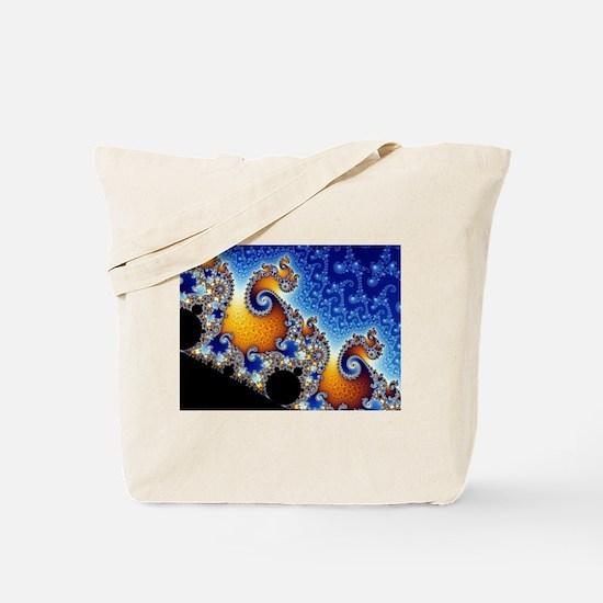 Mandelbrot Blue Double Spiral Fractal Tote Bag