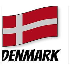 Flag of Denmark, labeled Poster