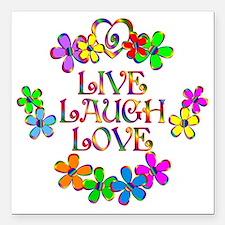 "Live Laugh Love Square Car Magnet 3"" x 3"""
