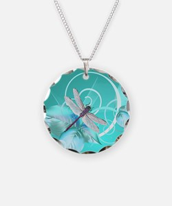 Cute Dragonfly Aqua Abstract Necklace