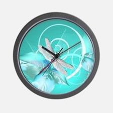 Cute Dragonfly Aqua Abstract Floral Swi Wall Clock