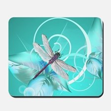 Cute Dragonfly Aqua Abstract Floral Swir Mousepad