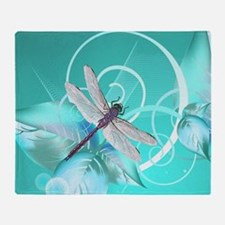 Cute Dragonfly Aqua Abstract Floral  Throw Blanket