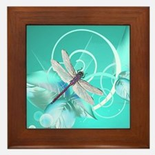 Cute Dragonfly Aqua Abstract Floral Sw Framed Tile