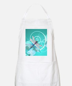 Cute Dragonfly Aqua Abstract Floral Swirl Apron