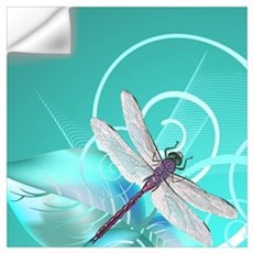 Cute Dragonfly Aqua Abstract Floral Swirl Wall Decal