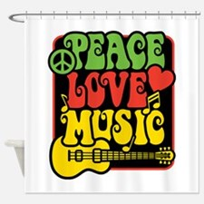 Rasta Peace Love Music Shower Curtain
