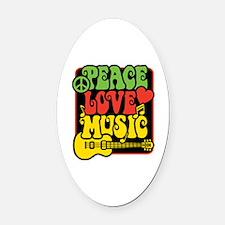 Rasta Peace Love Music Oval Car Magnet