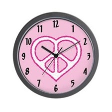 Pink Peace Heart Wall Clock