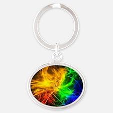 crazy rainbow Oval Keychain