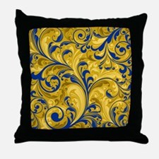 Floral Swirl Blue Gold Elegant Vintag Throw Pillow
