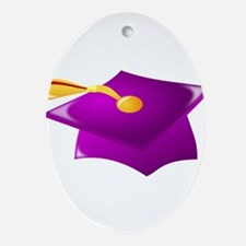 Purple Grad Cap Ornament (Oval)