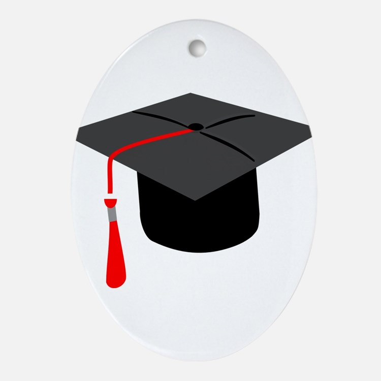 Graduation Cap Ornament (Oval)